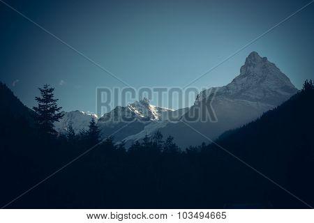 Winter mountains panorama