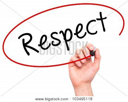 Man Hand writing Respect black marker on visual screen.
