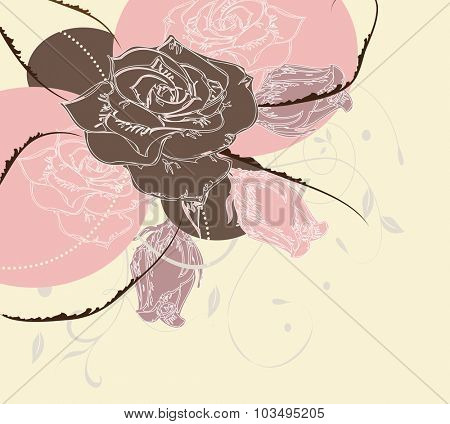 Vintage invitation card with elegant abstract floral design, brown pink purple flowers on yellow. Vector illustration.