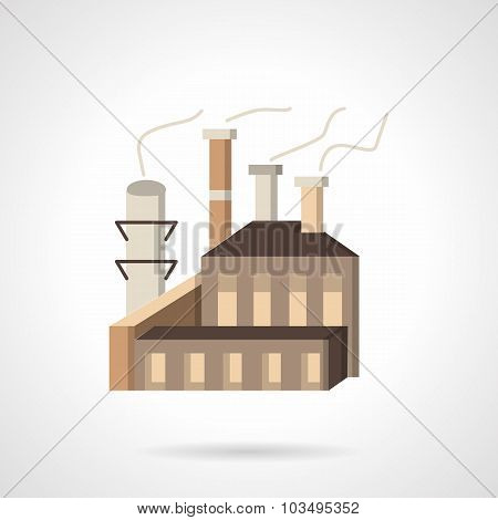 Wood processing factory flat vector icon