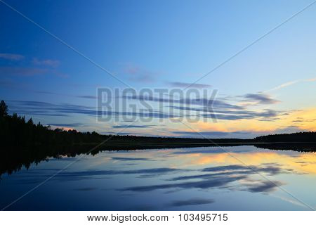 White Nights On The Lake Pongoma. Karelia, Russia