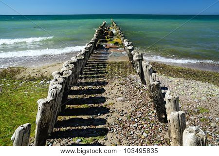 Breakwater Goes Into The Sea