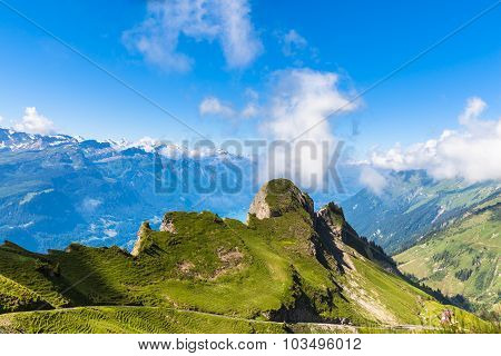 Panorama View Of The Alps Near Rothorn