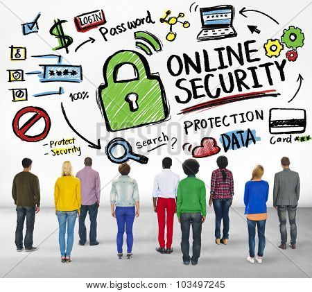 Online Security Protection Internet People Rear View Concept