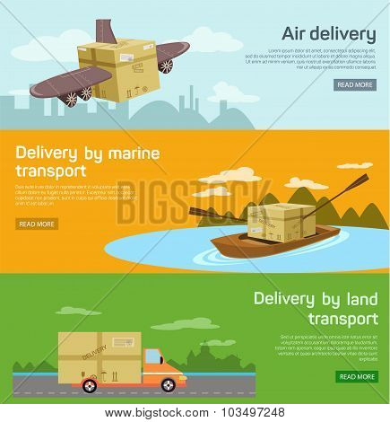 Logistic concept flat banners set of maritime rail and air transport delivery services abstract isol