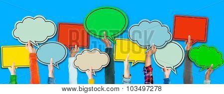 Multi Ethnic Arm Raised Unity Togetherness Speech Bubbles Concept