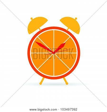 Orange Clock Vector