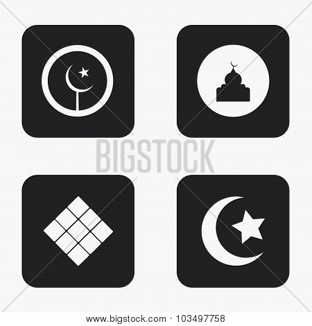 Vector modern eid mubarak icons set