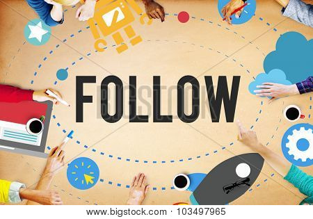 Follow Connecting Networking Sharing Social Media Concept