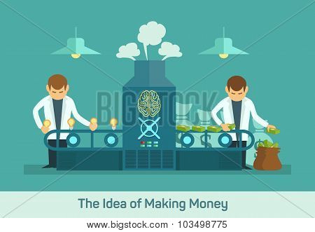 Money factory creative machine flat