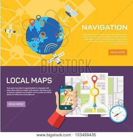 Navigation and traveling. Map pointer location finding.
