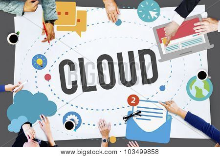 Cloud Computing Network Storage Social Concept