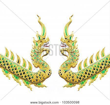 Thai Dragon Or King Of Naga Statue On White