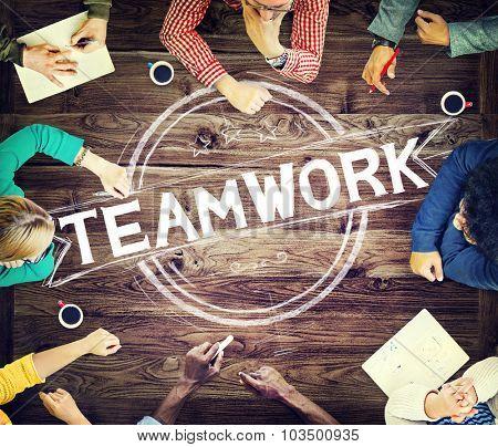 Teamwork Team Collaboration Corporate Brainstorming  Concept