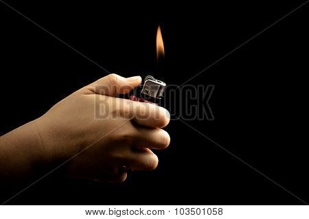 Dark Tone Kid Hand And Lighter
