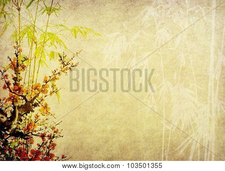 plum blossom and bamboo on paper background