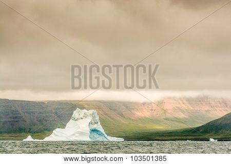 A lone ice berg floast against a changing Arctic tundra.