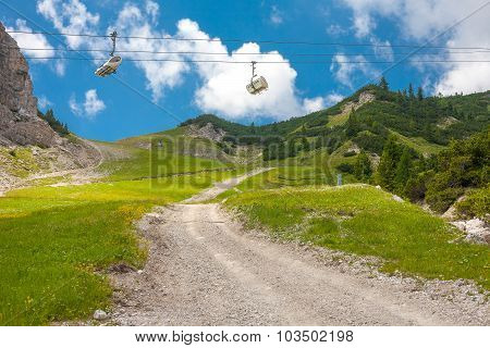 Landscape With Cable Cars Near To Cortina