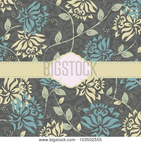 Vintage wedding invitation card with ornate elegant retro abstract floral design, blue and yellow flowers on gray with ribbon. Vector illustration.