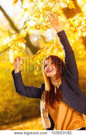 Woman Fashion Girl Relaxing Walking In Autumnal Park, Outdoor