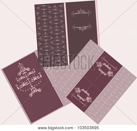 Set of three (3) vintage invitation cards with elegant retro abstract floral design