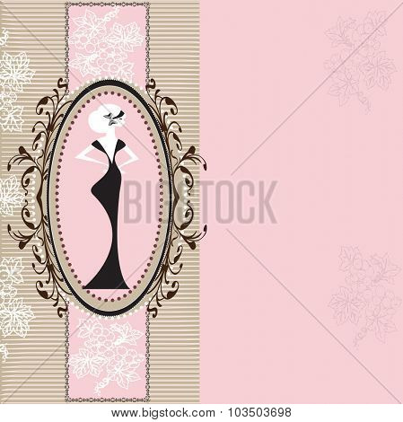 Vintage invitation card with elegant retro abstract floral design with woman