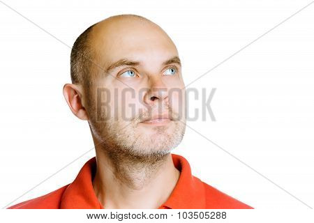 Unshaven Man. Isolated On White. Studio