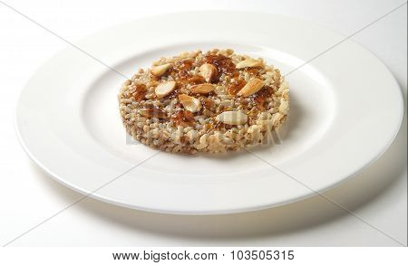 Sweet Rice With Almonds And Fruit Jam