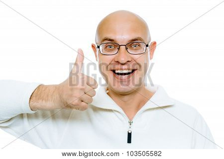 Bald Man Smiling With Thumb Up. Isolated On White. Studio