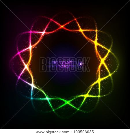 Shining neon rainbow colors spiral, cosmic frame