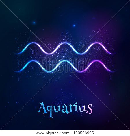 Blue shining cosmic neon zodiac Aquarius symbol