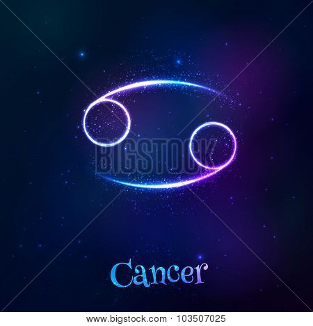 Blue shining cosmic neon zodiac Cancer symbol