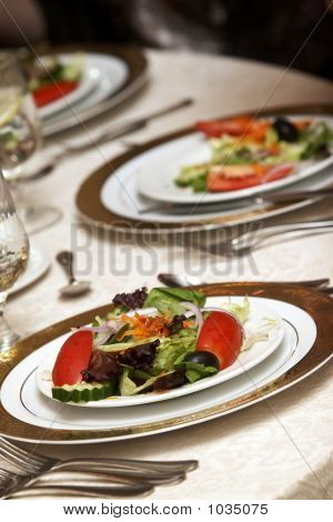 Wedding Tables With Green Salad