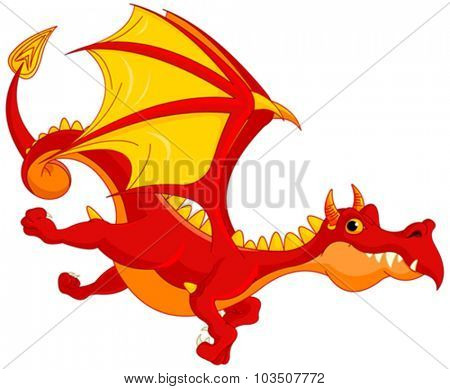 Illustration of cute dragon flying