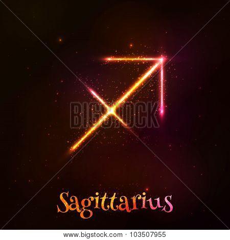Shining neon zodiac Sagittarius vector symbol