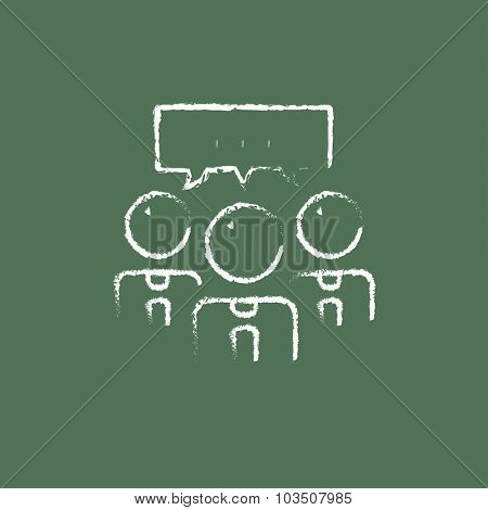 People with speech square hand drawn in chalk on a blackboard vector white icon isolated on a green background.
