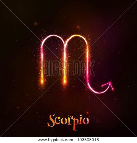 Shining neon zodiac vector symbol