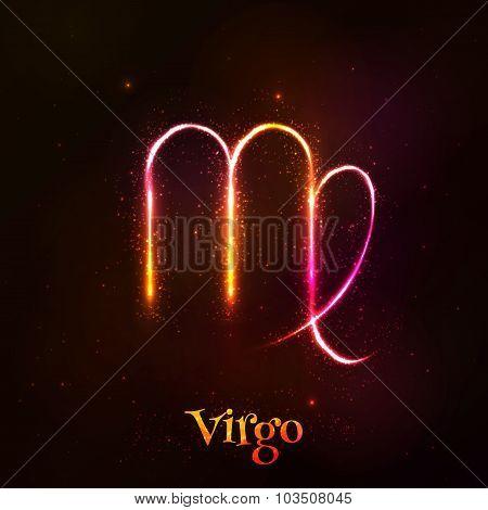 Shining neon zodiac Virgo vector symbol