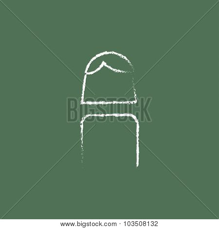 Female hand drawn in chalk on a blackboard vector white icon isolated on a green background.