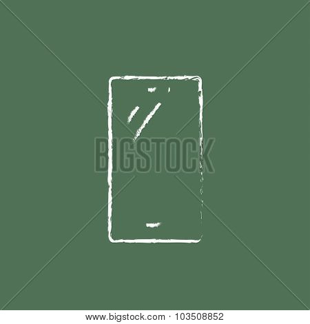 Mobile phone hand drawn in chalk on a blackboard vector white icon isolated on a green background.
