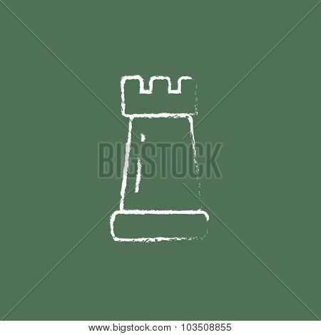 Chess hand drawn in chalk on a blackboard vector white icon isolated on a green background.