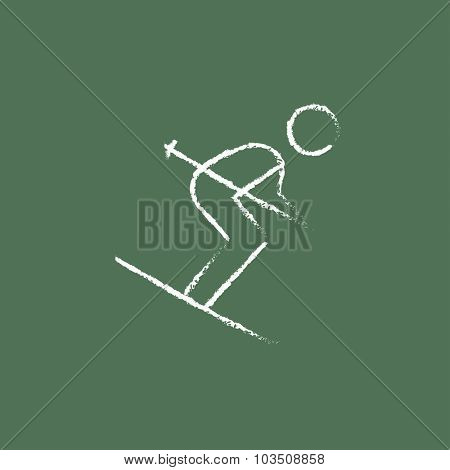 Downhill skiing hand drawn in chalk on a blackboard vector white icon isolated on a green background.