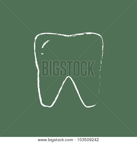 Tooth hand drawn in chalk on a blackboard vector white icon isolated on a green background.