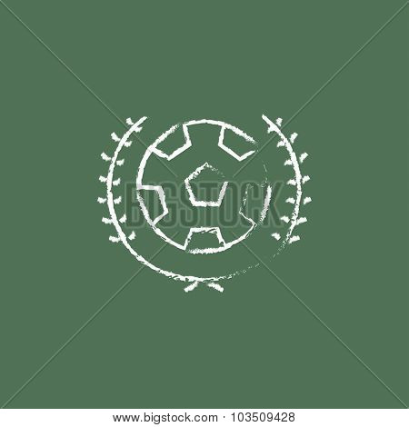Soccer badge hand drawn in chalk on a blackboard vector white icon isolated on a green background.