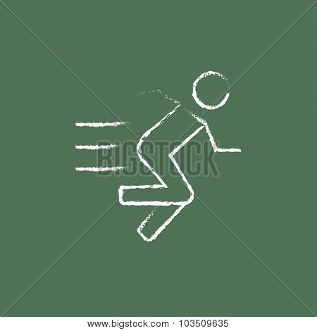 Running man hand drawn in chalk on a blackboard vector white icon isolated on a green background.
