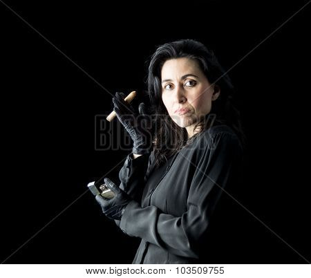 Woman In Black With Cigar And Lighter