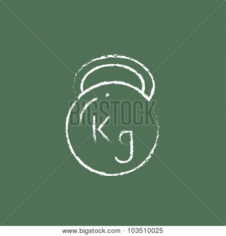 Kettlebell hand drawn in chalk on a blackboard vector white icon isolated on a green background.