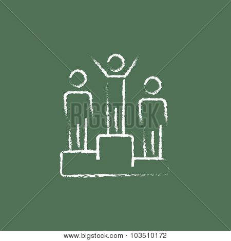 Winners on the podium hand drawn in chalk on a blackboard vector white icon isolated on a green background.