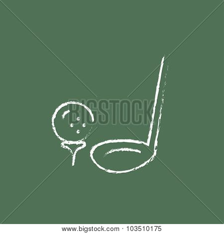 Golf ball and putter hand drawn in chalk on a blackboard vector white icon isolated on a green background.