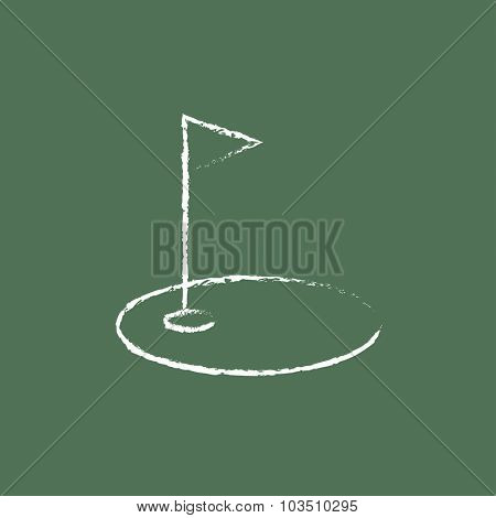 Golf hole with a flag hand drawn in chalk on a blackboard vector white icon isolated on a green background.
